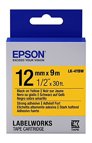 "Epson LabelWorks Strong Adhesive LK (Replaces LC) Tape Cartridge ~1/2"" Black on Yellow (LK-4YBW) - For use with LabelWorks LW-300, LW-400, LW-600P and LW-700 label printers"