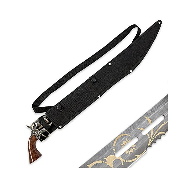 "K EXCLUSIVE Otherworld Steampunk Gun Blade Sword with Nylon Shoulder Sheath - Antique Finish, Laser-Etched and Engraved Accents, Spinning Barrel - 26"" Length 4"