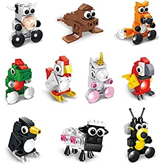 Building Blocks Animals,10 in 1 Stem Building Toys Sets, Assorted Toy Animal, Party Favor for Kids, Goodie Bags, Birthday, Carnival Prizes,Cake Topper (10 PCS Animal)