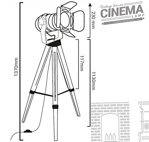 Decoluce Vintage Tripod Floor Lamp,Nautical Teatre Retro Spotlight,Industrial Decor Wooden Light Fixtures,Cinema Movie Props,(Without Edison light bulbs)
