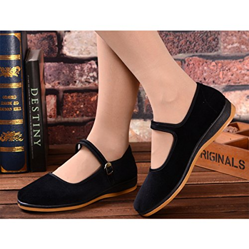 Black Velvet Chinese Mary Jane Dance Flat Old Beijing Cloth Walking Shoes Breathable and Comfortable Soft Ngbgo