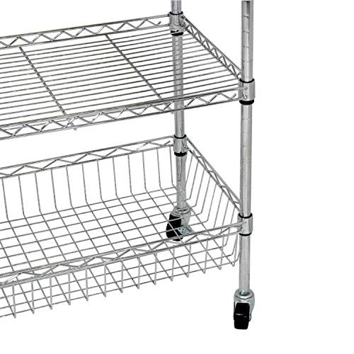 soges Premium Kitchen Rack with Solid Wood Cutting Board, Rolling Kitchen Storage Cart, Bar Serving Trolley Wine Rack, Moving Units for Home, Kitchen, Bathroom, Stainless Steel KS-ZSCS-04 by soges (Image #8)
