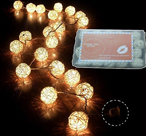 I Love Handicraft Storm Cream White Rattan Ball Fairy Lights - Ideal Wedding, Christmas & Party String Lights (1, gold) One Color by Papaya Shop