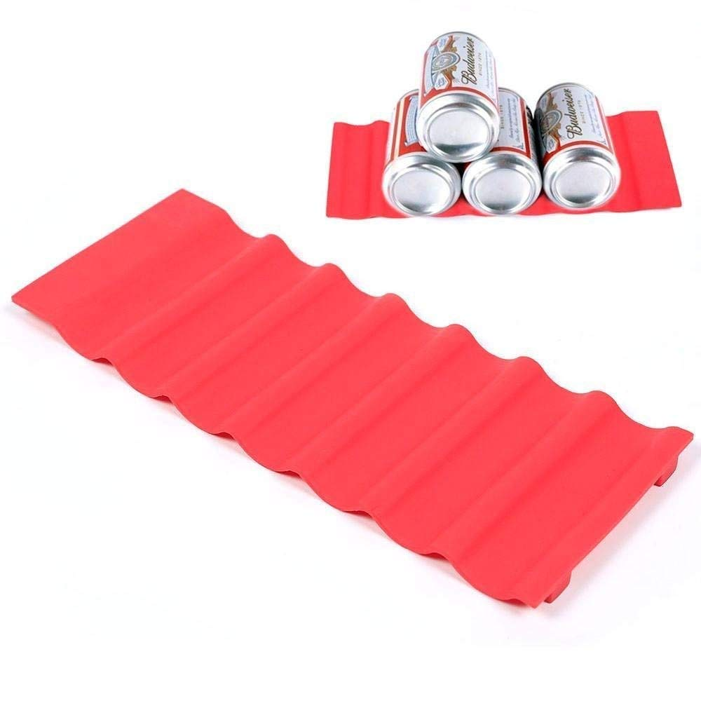 Topeakmart Bottle Stacking Mat Pantry Can Stacker Kitchen Cabinet And Fridge Storage Rack Silicone Stacking Tidy Tool (Red)