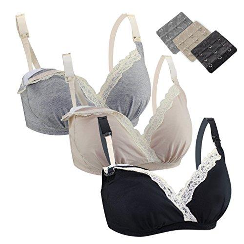 Beauty Lover - Sujetador premamá y de lactancia - para mujer 3 Pack(Grey+Flesh Color+Black)