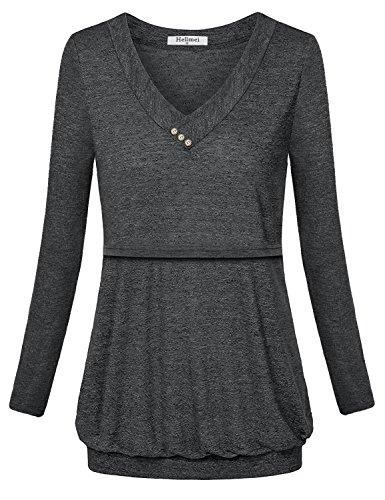 Hellmei Trendy Tops for Women 2018,Breastfeeding Shirts for Women, Long Sleeve Banded Hem Pleated Flattering Blouse Tunic Shirts for Women Black Grey Medium by Hellmei (Image #1)