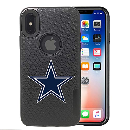 Cowboys iPhone X Case, iPhone Xs Cowboys Case, Cowboys Carbon Fiber Pattern Anti-Scratches Non Slip Sturdy Protective Back Cover Flexible Rubber Edges, with Metal Plate Disc for Magnetic Car Mount