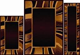 Home Dynamix Area Rugs - Ariana Collection 3-Piece Living Room Rug Set - Ultra Soft & Super Durable Home Décor - 7542-500 Brown