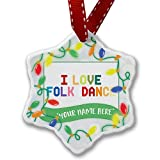 Personalized Name Christmas Ornament, I Love Folk Dance,Colorful NEONBLOND