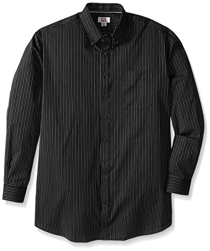 Cutter & Buck Men's Big and Tall Long Sleeve Epic Easy Care Pin-Stripe, Black/White, Tall/Large
