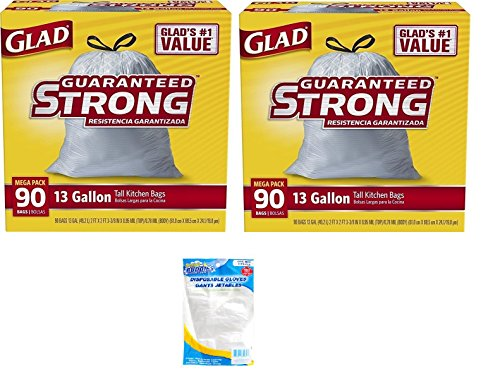 Glad Tall Kitchen Drawstring Trash Bag - 13 Gallon 2 Pack (90 Count), Bundle with 702wallet Gloves (3 items)