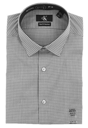 Calvin Klein Mens Slim Fit Non Iron Dress Shirt (XL 17 x 36/37, Grey Tartan Plaid (01)) (Banks Plaid Shirt)