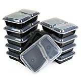 Table To Go 20-Pack 32 Ounce Two Compartment Bento Lunch Boxes with Lids - Stackable, Reusable, Microwave, Dishwasher & Freezer Safe - Meal Prep, Portion Control, Black