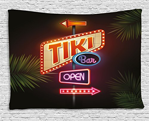 Ambesonne Tiki Bar Tapestry, Old Fashioned Neon Signs Illustration of Open Bar Palm Tree Branches Roadside, Wide Wall Hanging for Bedroom Living Room Dorm, 60