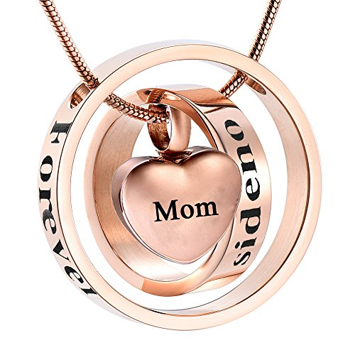 Urn Open - memorial jewelry Forever in My Heart,No Longer by My Side Cremation Pet Urn Necklace Screw Opens and Lock Ashes Pendant Jewelry for Dog Cat (Rose Gold, Mom)