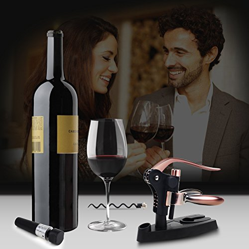 Aonesy Wine Bottle Opener, All-In-One Manual Rabbit Corkscrew Set - 8 Piece Bundle with Stand, Wine Stoppers, Foil Cutter, EXTRA Spiral - Great Set for Women and Men by AONESY (Image #1)