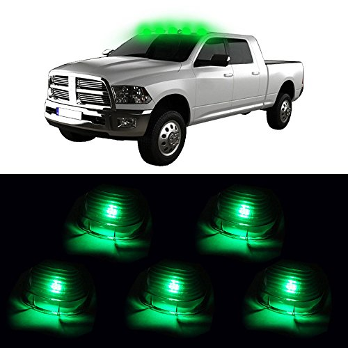 Lincoln Light Truck (CCIYU 5x Smoke Cab Roof Marker Running Lamps+5xGreen T10 6SMD LED Lights For Truck 4x4 Fits Lexus Lincoln Mercedes-Benz Toyota etc)