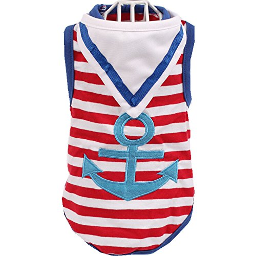 AILNT Summmer Apparel Puppy Dog Pet clothes, Navy Striped Sailor Pet Vest with Scarf (XL, Blue)