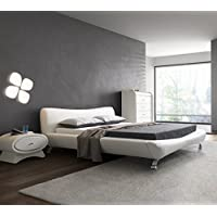 US Pride Furniture B8065-EK Joyce Synthetic Leather Contemporary Platform Bed, Eastern King, White