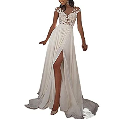 LovelyGirl Womens Short Sleeve Illusion Neckline Long Lace Prom Dress 2018 Evening Dresses with Slit Ivory