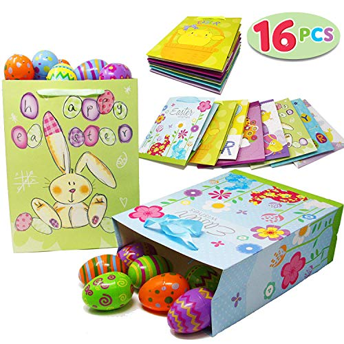 Joyin Toy 16 Easter Day Party Gift Bags for Easter Party Favors (8 Large and 8 Medium Sizes)]()