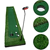 Golf Putting Mat,OUTAD Indoor Golf Training Mat Putting Green System Professional Golf Practice Mat Green Long Challenging Putter