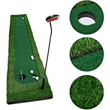 OUTAD Golf Putting Mat Green Indoor Outdoor–Auto Ball Return Function–Portable Golf Court Mini Training Aids - Extra Long Real-Like Grass Putting Trainer Set