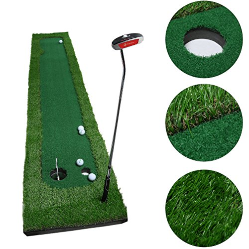 Golf Putting Mat,OUTAD Indoor Golf Training Mat Putting Green System Professional Golf Practice Mat Green Long Challenging Putter(1.6ftx10ft)