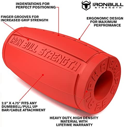 Iron Bull Strength Alpha Grips 2.5 – Extreme Arm Blaster – Best Dumbbell and Barbell Thick Bar Adapter
