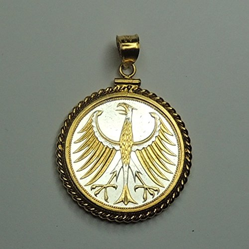 German Eagle,Gorgeously 2-Toned (Uniquely Hand done) Gold & Silver coin Pendants - Charms Necklaces for women men girls girlfriend boys jewelry making bracelets by J&J Coin Jewelry