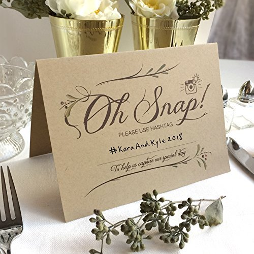 4 Pack- Instagram Wedding Hashtag Signs - Folded Freestanding Kraft Table Signs (4) - Write in Your Own Hashtag - 6.25