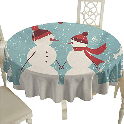 duommhome Christmas Durable Tablecloth Snowman and Woman Romantic Couple in Love Valentines Holding Hands Grunge Easy Care D43 Seafoam Red Cream