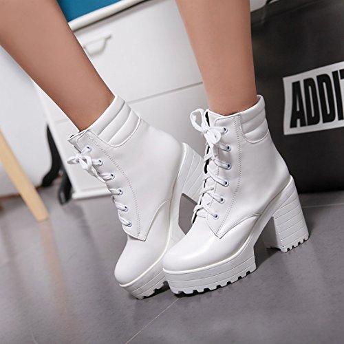 YE Damen Chunky Heels Ankle Boots High Heels Plateau Stiefeletten mit Schnürung und 9cm Absatz Modern Bequem Schuhe Weiß