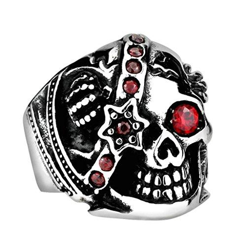 (Bishilin Gothic Skull Cubic Zirconia Stainless Steel Men's Biker Ring Size 15)