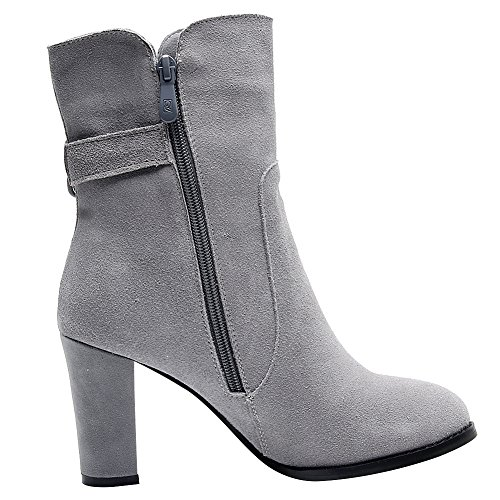 Jamron Fair Ladies Nubuck Genuine Leather High Block Heel Boots Women Slip On Mid-Calf Boots With Buckle Strap/Zip Grey-zip