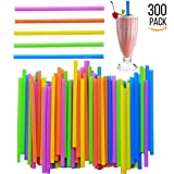 Jumbo Drinking Straws - 300 Pack - Extra Wide - With Recipe E-Book - BPA-Free Straws - Bright Colors - Works for Smoothies, Juices , Protein Shakes, Cocktails and More - By FUMCare