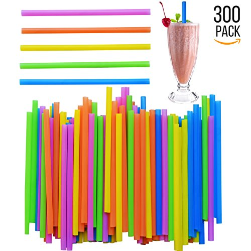 Jumbo Drinking Straws - 300 Pack - Extra Wide - With Recipe E-Book - BPA-Free Straws - Bright Colors - Works for Smoothies, Juices , Protein Shakes, Cocktails and More - Funny Weird And Holidays