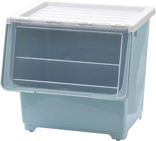 BNHXT Caja de Almacenamiento Plastico con Tapa y Ruedas,Apilable Gran Cubo Organizador,para Libros,Ropa o Juguetes,L: Amazon.es: Hogar
