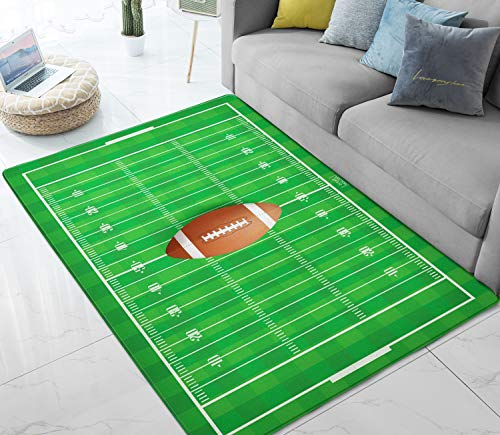 Area Rugs American Football Field Green Large Floor Mat for Living Dining Dorm Playing Room Bedroom 5' x 7'