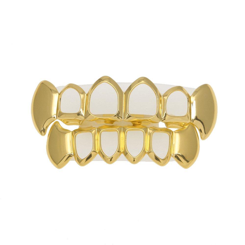 Mcsays Grillz, gioielli dentali, cavo, galvanostegia, per arcata inferiore e superiore, colore: oro o argento, per donne e uomini, idea regalo rame colore: Gold cod. SP1001