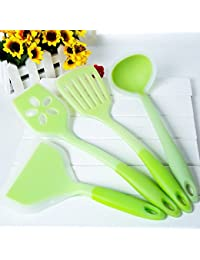 Buy 100% food grade kitchen tools 4 Piece Heat Resistant Cooking Utensil Set Non-Stick Silicone (Green) occupation