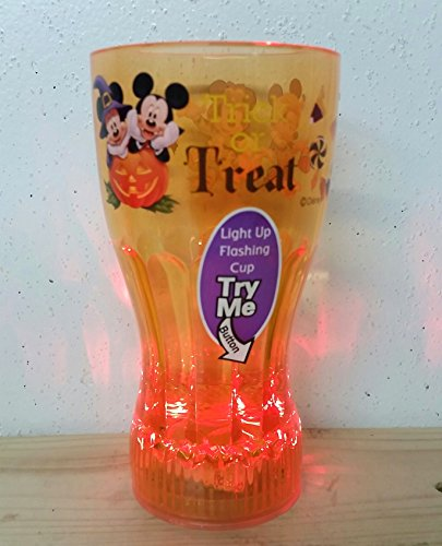 Mickey Mouse Vampire and Minnie Mouse Witch Orange Flashing Halloween Cup