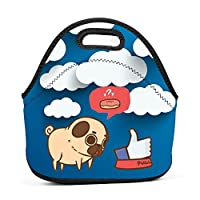 Kawaii Pug Donut Insulated Neoprene Lunch Bag for Men Women and Kids - Reusable Soft Lunch Box for Work and School Water-Resistant 3D Printed