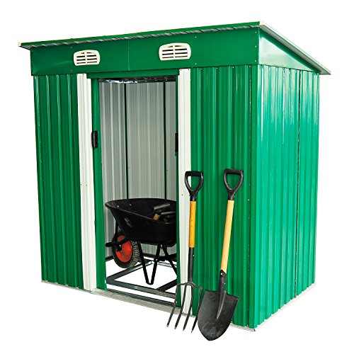 Outsunny 4 x 6 ft pent roofed metal garden shed house hut for Garden shed ventilation