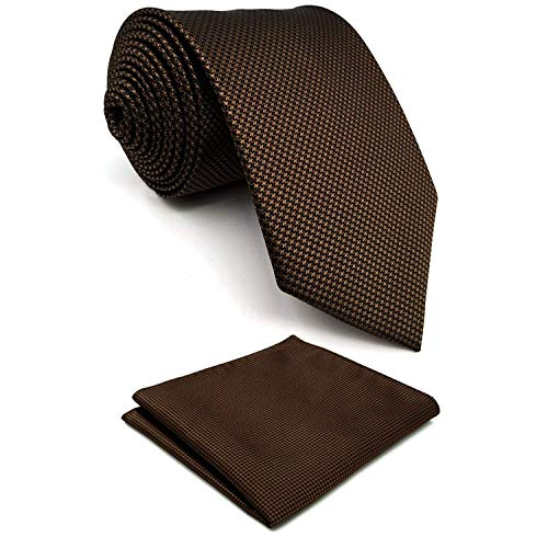 SHLAX&WING Extra Long Tie Set with Pocket Square Solid Color Brown Necktie Hanky ()