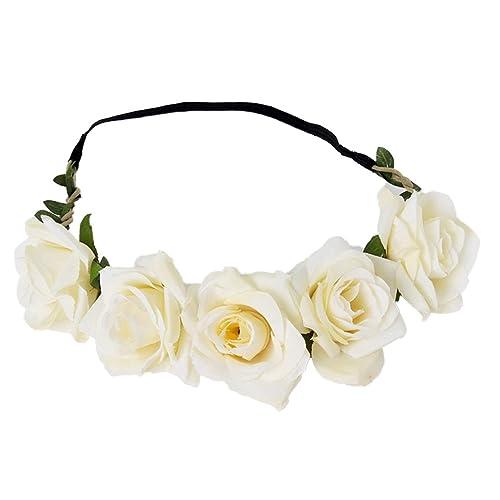 Yazilind Hochzeit Braut Kranz Kopfschmuck Strand Rose Blumen Ringe
