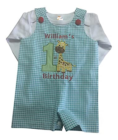 Baby Boy First Birthday Outfit Giraffe Personalized With Babys Name 12 18mos Shortall