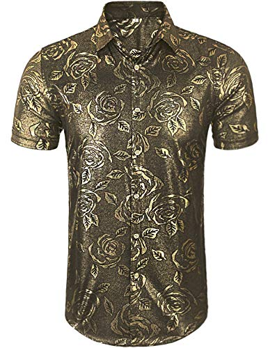 Daupanzees Mens Vintage Disco Shirt 60s 70s 80s 90s Luxury Graphic Print Fashion Short Sleeve Black Gold Sliver Hologram Dude Costume Shirt]()