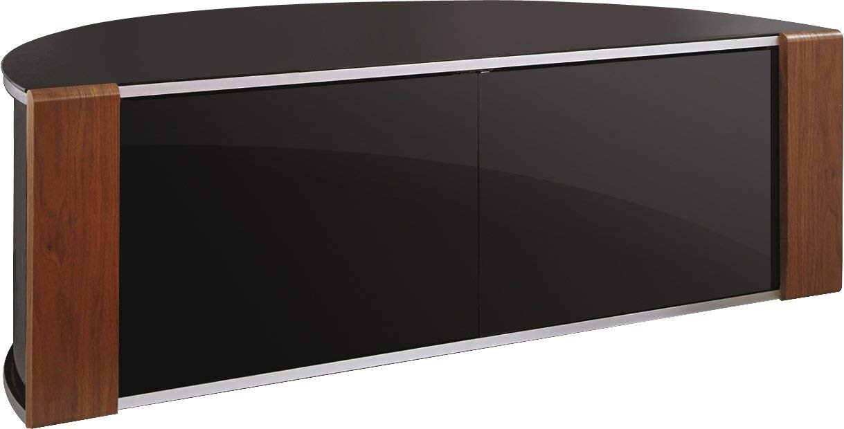 "MDA Designs Sirius 1200 Walnut or Oak Trims with Piano Black Beam Thru Remote Friendly Door Up to 52/"" TV Cabinet"