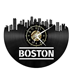 Vinyl Music Record Wall Clock Boston 3D Pattern Wall Clock Handmade DIY Clear Digital Gold Dial Clock Home Accessories 12 Inches / 30CM